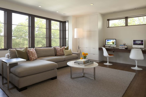 Contemporary Family Room by Charlie & Co. Design, Ltd
