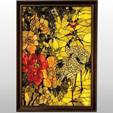 Twin Cranes and A Humming Bird Framed Backlit Gemstone Art Nouveau Wall Art