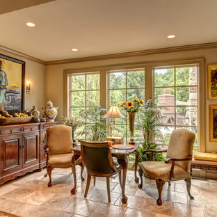Family room - traditional family room idea in Other with beige walls