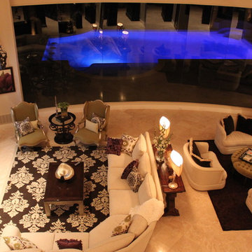 Two story mediterranean family room