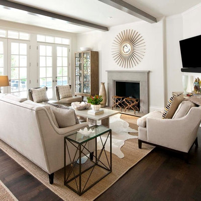 Inspiration for a timeless dark wood floor family room remodel in Dallas with white walls, a standard fireplace and a wall-mounted tv