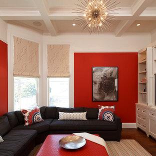 サンフランシスコの中サイズのコンテンポラリースタイルのおしゃれな独立型ファミリールーム (赤い壁、無垢フローリング、内蔵型テレビ) の写真