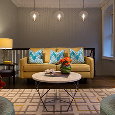 Transitional Family Room by Emc2 Interiors