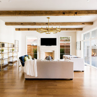 Transitional Medium Tone Wood Floor Family Room Photo In Dallas With Beige Walls A Standard