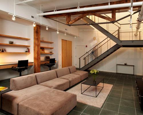 Wohnzimmer Dortmund Style : Wohnzimmer im loft style mit schieferboden ideen design