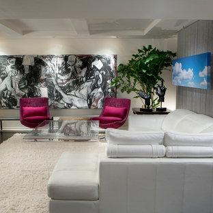 フェニックスの小さいコンテンポラリースタイルのおしゃれな独立型ファミリールーム (白い壁、濃色無垢フローリング、壁掛け型テレビ) の写真