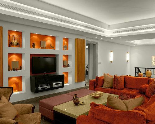Soggiorno stile loft con pareti arancioni - Foto e Idee per Arredare