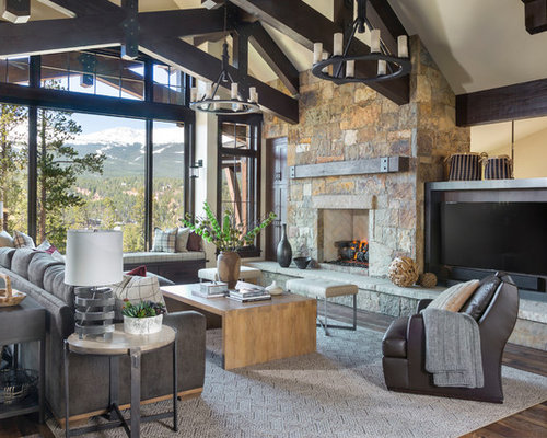 Large Mountain Style Enclosed Brown Floor And Dark Wood Floor Family Room  Photo In Denver With