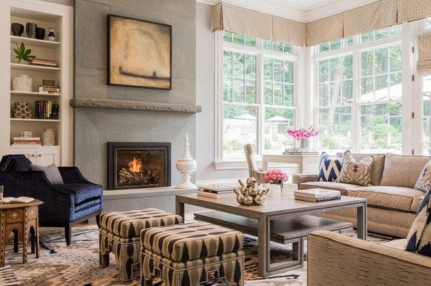 Transitional Family Room by Jill Litner Kaplan Interiors