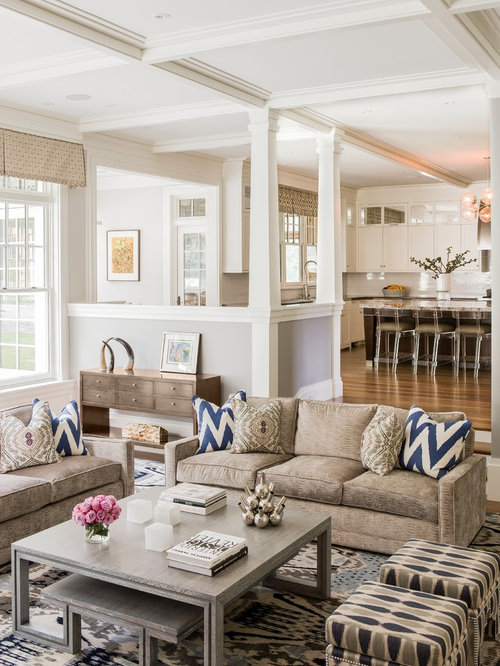 Example Of A Transitional Open Concept Family Room Design In Boston