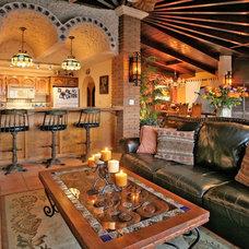Mediterranean Family Room by Kristi Black Designs