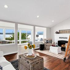 Beach Style Family Room Vashon Island Remodel