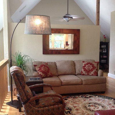 Family room - small craftsman loft-style light wood floor family room idea in Dallas with beige walls
