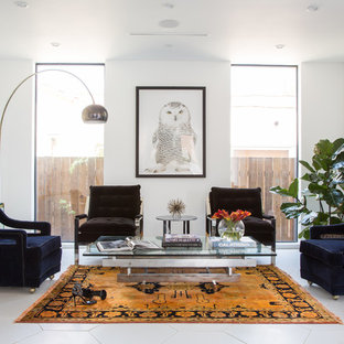 Inspiration for a mid-sized contemporary open concept white floor and porcelain floor family room remodel in Los Angeles with white walls, no fireplace and no tv