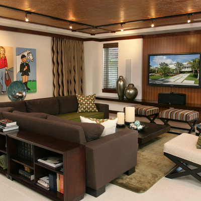 Mid-sized trendy open concept linoleum floor and white floor family room photo in Miami with beige walls, a wall-mounted tv and no fireplace