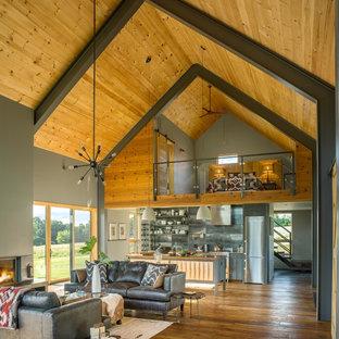 Bild på ett stort funkis allrum med öppen planlösning, med grå väggar, mellanmörkt trägolv, en standard öppen spis, en spiselkrans i gips och brunt golv