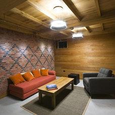 Contemporary Family Room by Birdseye Design