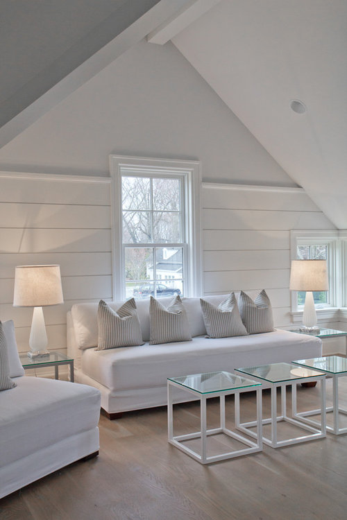 white shiplap interior wall which paint finish