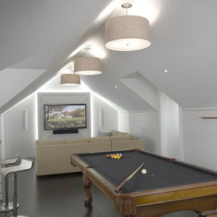 Example of a cottage gray floor family room design in New York