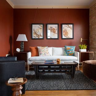 ミネアポリスのヴィクトリアン調のおしゃれなファミリールームの写真