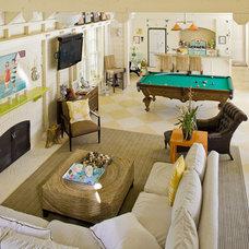 Farmhouse Family Room by John Malick & Associates