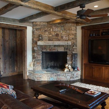 View of Media Room with Fireplace