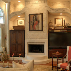 mediterranean family room by Terri Symington, ASID
