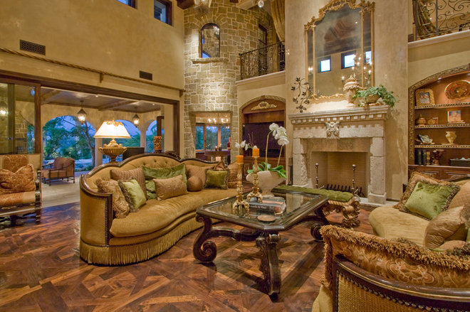 Mediterranean Family Room by Arc Design Group