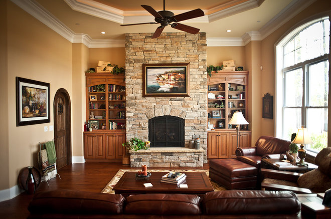 Mediterranean Family Room by Blue Sky Building Company