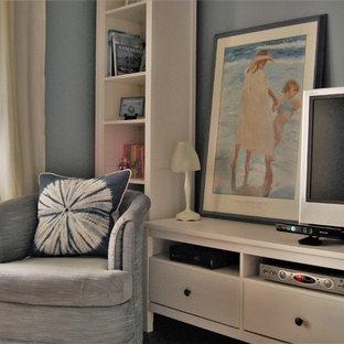 Diseño de sala de estar cerrada, actual, pequeña, con paredes azules, suelo vinílico, televisor independiente y suelo marrón