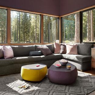 Foto di un grande soggiorno contemporaneo chiuso con pareti viola, pavimento marrone e pavimento in legno massello medio