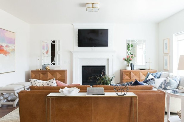 Transitional Family Room by Studio McGee