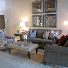 Transitional Family Room by Michelle Lynne INTERIORS Group