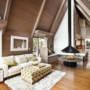 Ejemplo de sala de estar tradicional renovada con chimeneas suspendidas