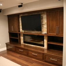Modern Family Room by JWS Woodworking and Design Inc.