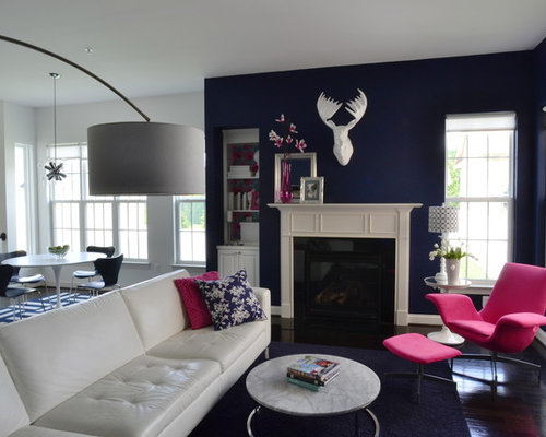 Inspiration For A Contemporary Open Concept Family Room Remodel In Richmond With Blue Walls