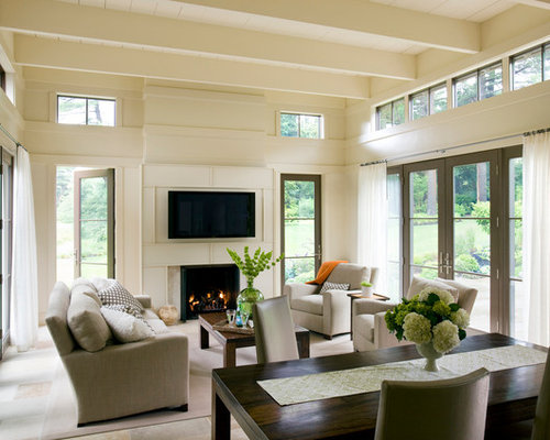 Transitional Open Concept Family Room Idea In Boston With Beige Walls, A  Standard Fireplace And Part 74