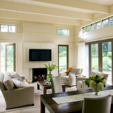 Transitional Family Room by Hutker Architects