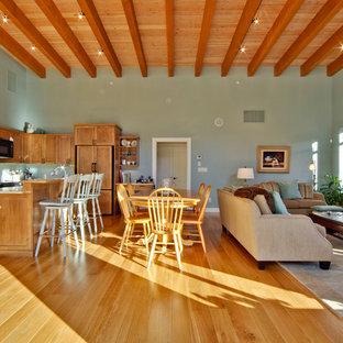 他の地域のおしゃれなファミリールーム (青い壁、淡色無垢フローリング、吊り下げ式暖炉、石材の暖炉まわり、テレビなし、茶色い床) の写真