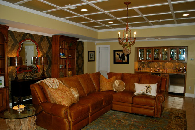 Traditional Family Room Wallpaper Rustic Man Cave