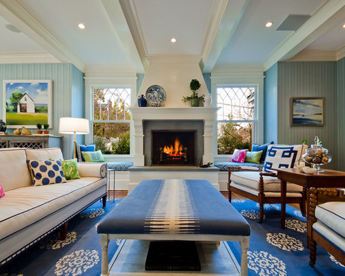Elegant Family Room Photo In DC Metro With Blue Walls A Standard Fireplace And
