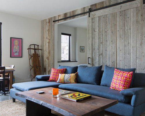 Inspiration For A Rustic Enclosed Family Room Remodel In Other With White Walls