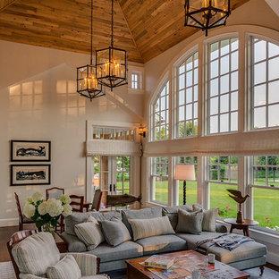 Warm Welcome - Living Room & Wood Ceiling - Cape Cod, MA Custom Home