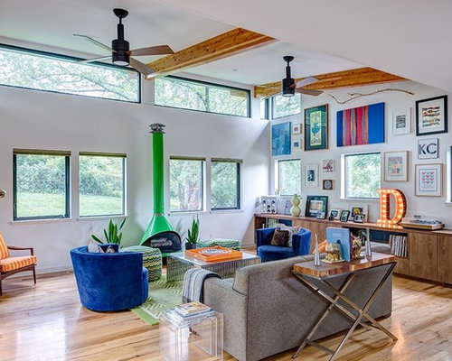 Mid Sized Beach Style Open Concept Living Room Idea In Kansas City With  White Walls Part 41
