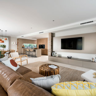 Design ideas for a contemporary family room in Perth.