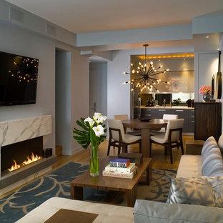 Imagen de sala de estar abierta, contemporánea, pequeña, con televisor colgado en la pared, paredes grises, suelo de madera clara, chimenea lineal y marco de chimenea de piedra
