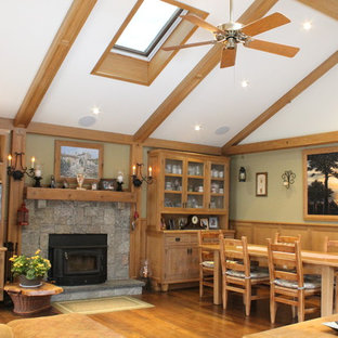 Large mountain style family room photo in New York