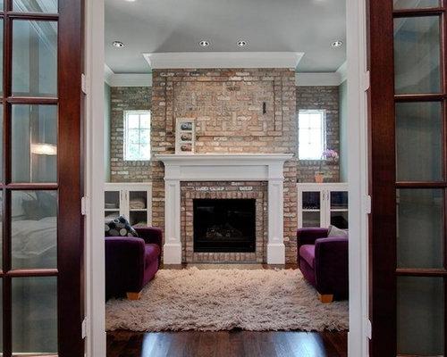 SaveEmail - Brick Fireplace Crown Molding Houzz - Mantels For Brick Fireplaces IDI Design