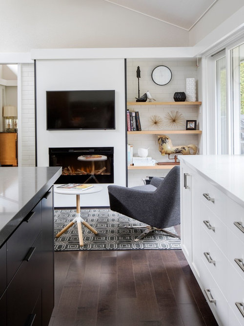 Example Of A Small 1960s Open Concept Dark Wood Floor And Brown Floor  Family Room Design