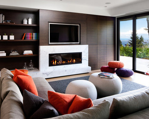 media wall with gas fireplace photos - Media Wall Design